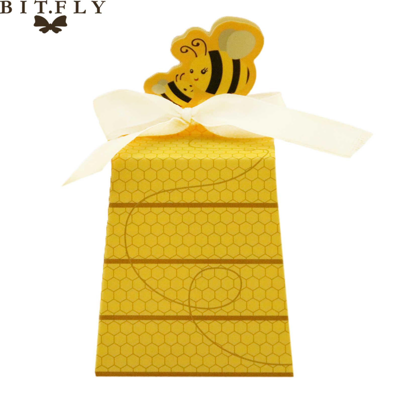 10 pcs Bonito Dos Desenhos Animados da Abelha do Mel de Chocolate Caixa de Doces Caixa de Presente com Fita de Papel Para O Bebê Do Chuveiro Do Casamento Do Partido Do Festival decoração