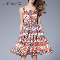 Cruising Italian Style Women Runway Fashion Summer Sexy Sleeveless Beach Dresses Rose Floral Print Ladies Holiday