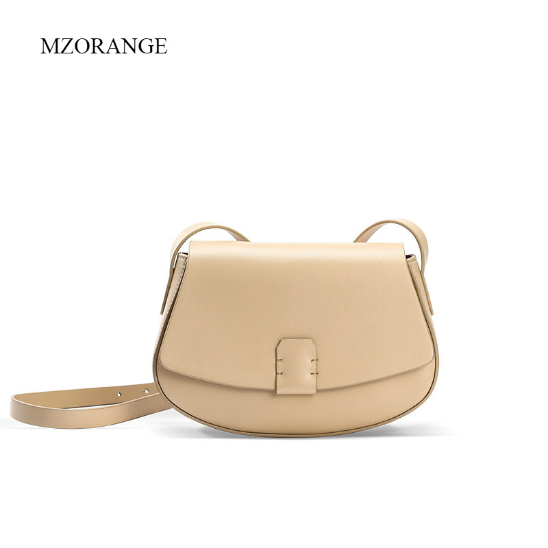 MZORANGE Fashion Women Messenger Bags Saddle Genuine Leather Small Bag Casual Shoulder Bags Mini Handbag Shoulder Ladies Bag hahmes 100% genuine leather women saddle bags women fashion shoulder bag female vintage design small shoulder bag 23cm 10849