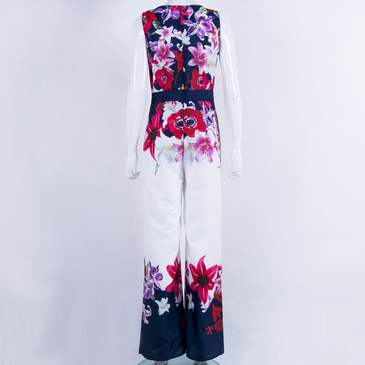 New Women Playsuit Sexy V-neck Floral Jumpsuit Sexy Lady Clubwear Flower Summer Playsuit Wide Leg Party Jumpsuit Romper #4