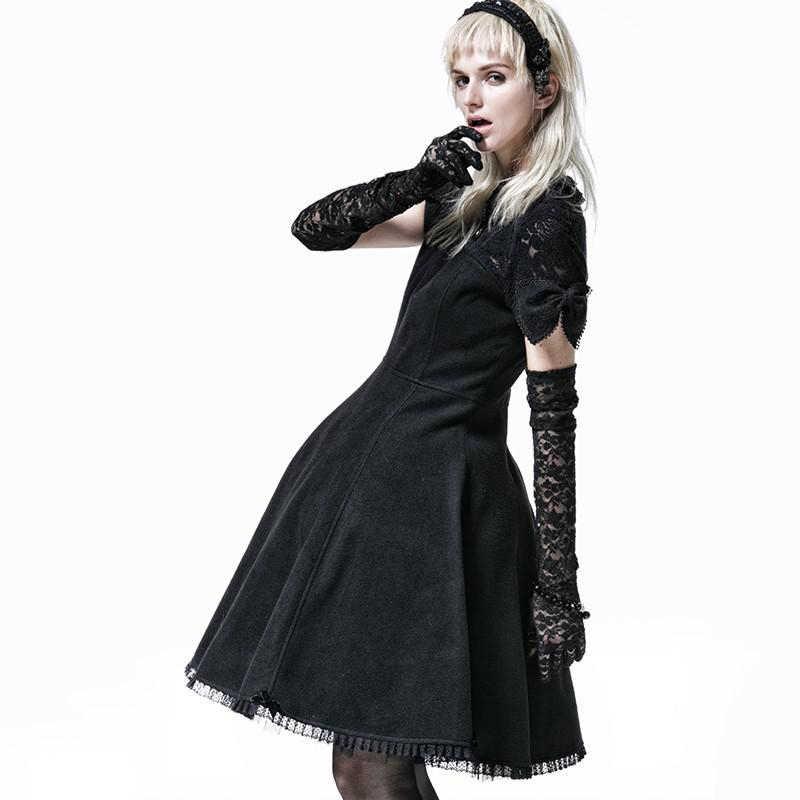8a1374e89de4 ... Fashion Gothic Lolita Princess Bow Tie Dress Steampunk Black Short  Sleeves Worsted Dress Sweet Cute Party ...