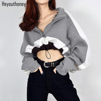 Heyouthoney 2018 new spring sexy patchwork color block slim long sleeve cropped tops stand neck gray sweatshirts women pullovers