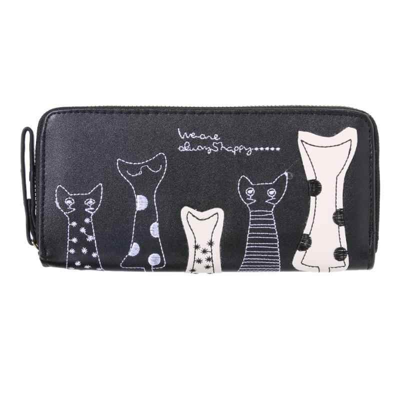 Cute Women Cat Cartoon Wallet Long Female PU Leather Purse Card Holder Casual Zip Ladies Clutch Wallet Coin Purse ID Holder Z50