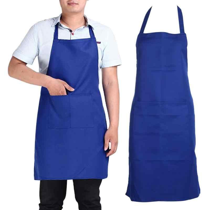 الحديث نمط الشيف مريلة مطبخ مقطع طويل بسيط مانعة للحشف ذكر أنثى فوطة طعام للكبار المئزر فستان جيب المطبخ أداة