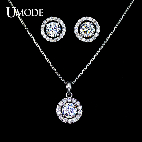 UMODE Rhodium plated Jewelry Sets With Top Grade Cubic Zirconia  Stud Earrings and Necklaces Set For Women AUS0014