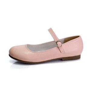 Image 3 - แฟชั่นผู้หญิงใหม่ Buckle Mary Jane รองเท้าแบน Gril สบายๆรอบ Toe หวานบัลเล่ต์แบนสายรัดข้อเท้าขนาดใหญ่ 31 32 33 42
