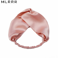 Fashion 100% Silk Hair Band Cross Elastic Belt Charms Hair Towel Hair Ribbons