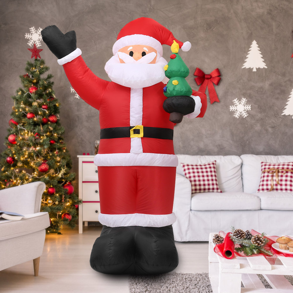 Us 88 0 45 Off 2 4m Tall Inflatable Christmas Santa Claus X Mas Outdoor Christmas Decorations Ornaments With Built In White Light Ac100 240v In