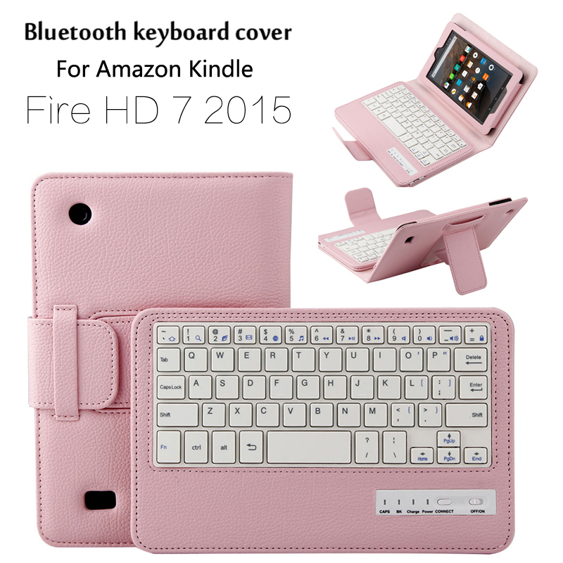 For Amazon New Kindle Fire HD 7 2015 Magnetically Detachable ABS Bluetooth Keyboard Portfolio Folio PU Leather Case Cover+ Gift