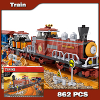 662pcs Classical American Western Wilderness Steam locomotive Train Model Building Blocks Brick Railway DIY Compatible with Lego