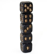HANDMADE BLACK SKULL DICE (SET OF 5) DISPLAY(China)