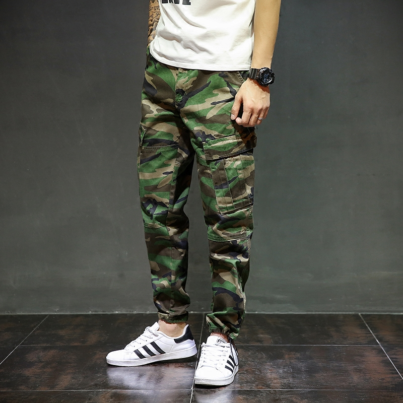 High Street Fashion Mens Jeans Jogger Pants Camouflage Denim Ankle Banded Pants Brand Streetwear Youth Skateboard Tied Pants