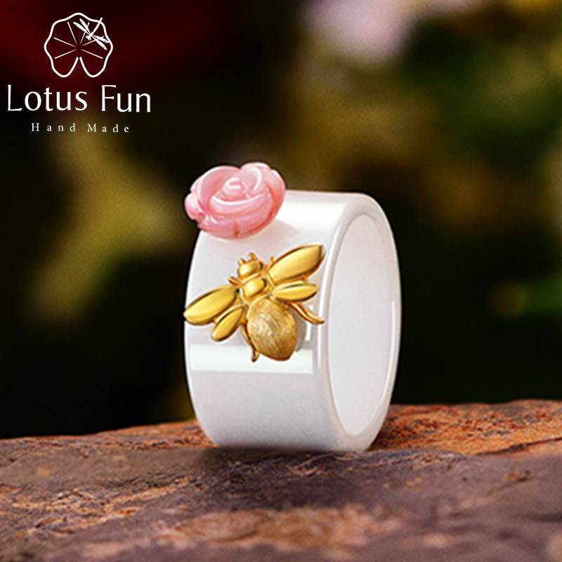 Lotus Fun Real 925 Sterling Silver Ring Natural Handmade Fine Jewelry Ceramics Ring Cute Bee Kiss