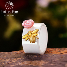 Lotus Fun Real 925 Sterling Silver Ring Natural Handmade Fine Jewelry Ceramics Ring Cute Bee Kiss from a Rose Rings for Women