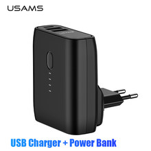 USAMS EU/US Foldable Plug 2 in 1 USB Charger Power Bank 5000mah Auto Power Off Fast Charging Powerbank Dual USB External Battery(China)