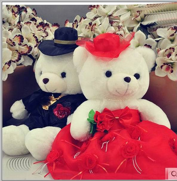 60cm Fashion Cute Stuffed doll,Retail Couple Bear Plush Toy,Cartoon Bouquet Material,Birthday Gift,Married Wedding Bear the lovely bow bear doll teddy bear hug bear plush toy doll birthday gift blue bear about 120cm