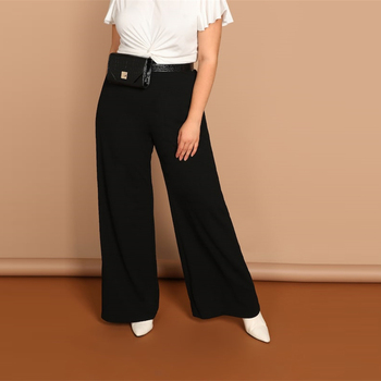 Black Plus Size Plain Loose Wide Leg Long Pants