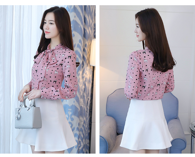Dog Printed Long Sleeved Blouse with Bowtie