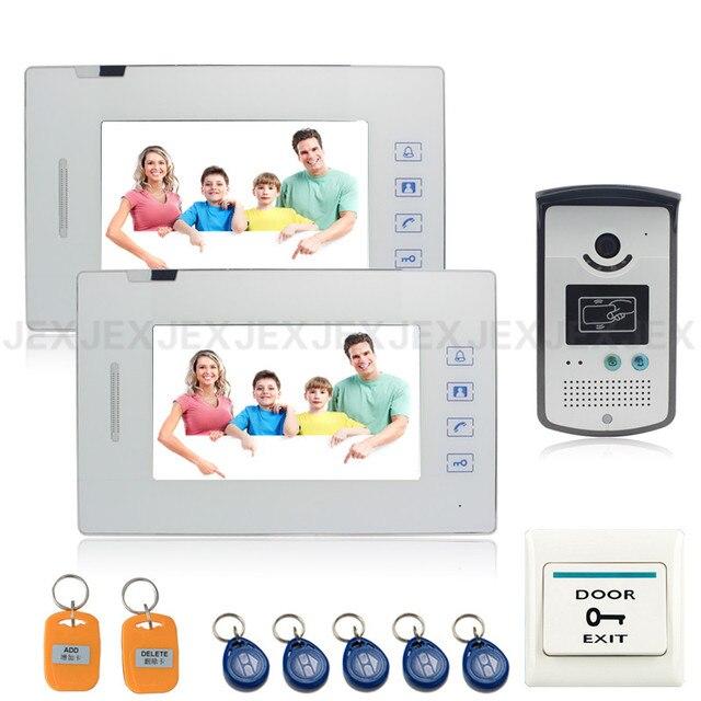 New 7 inch touch key video door phone intercom system access control system doorphone speaker intercom 2 call button
