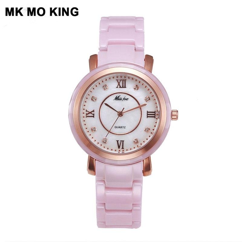 Luxury Brand Women's Pink Black White Quartz Ceramic Watch Fashion Ladies Rhinestone Waterproof Bracelet Clock  Mk Montre Femme