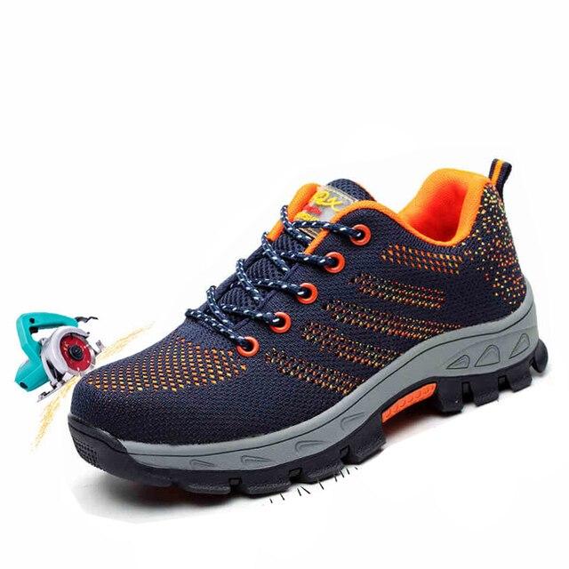 Nam Thép Không Gỉ Mũi Giày Làm Việc An Toàn Plus Kích Thước Quần Vợt Ngoài Trời Thoáng Khí Bảo Vệ Đâm Thủng chống Giày Cho Nam giày Sneakers