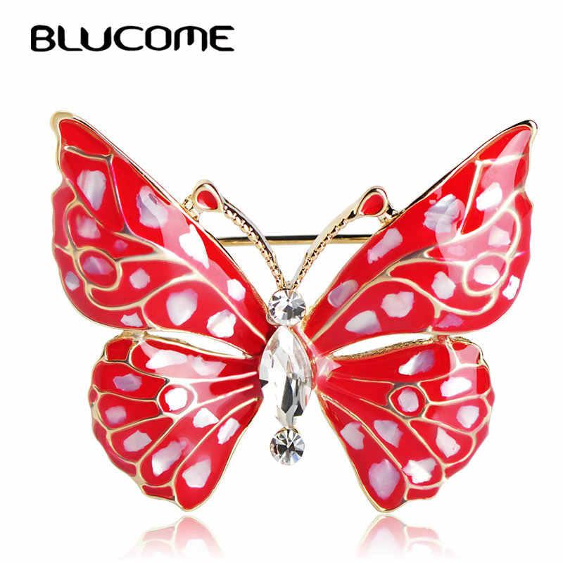 Blucome Fashion Biru Kupu-kupu Bros Aksesoris Pakaian Warna Emas Abalone Shell Serangga Bros Perhiasan Pin untuk Gugatan Gaun