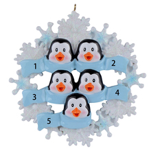 Penguin Family with Snowflake of 5 Polyresin Christmas Personalized  Ornaments
