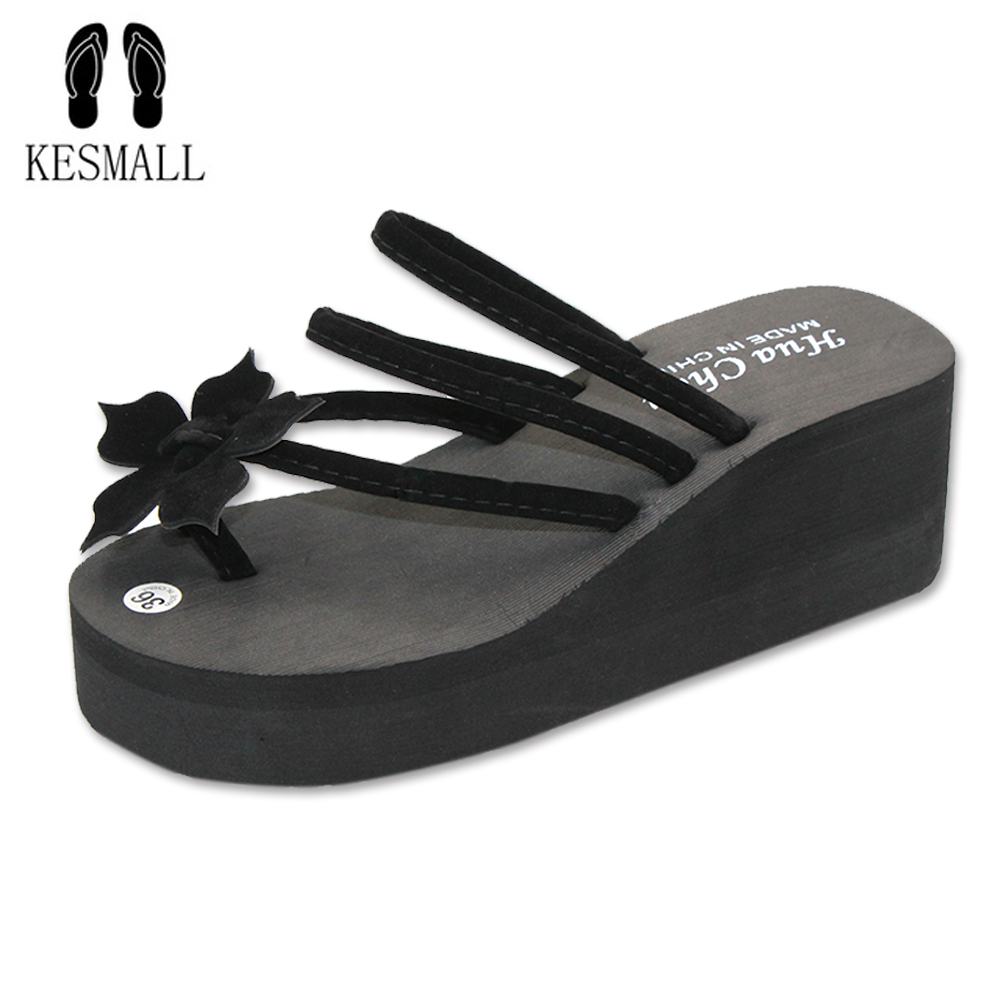 KESMALL 2017 New Ultra High Heels Beach Slippers Summer Style Wedge Platform Sandals for Women Huarache Flip Flops Woman WS100