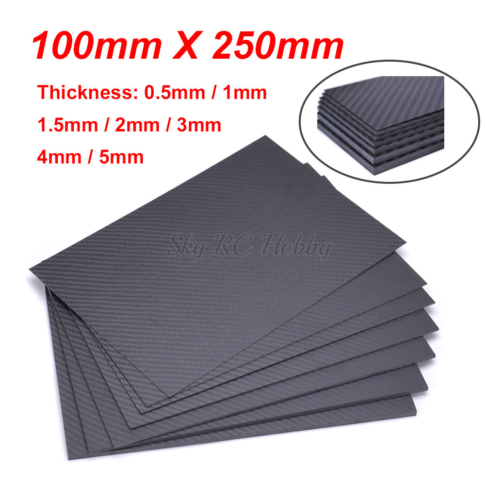 100mm X 250mm 0.5mm 1mm 1.5mm 2mm 3mm 4mm 5mm 3K Carbon Fiber Plate Panel Sheets Matte High Composite Hardness Material