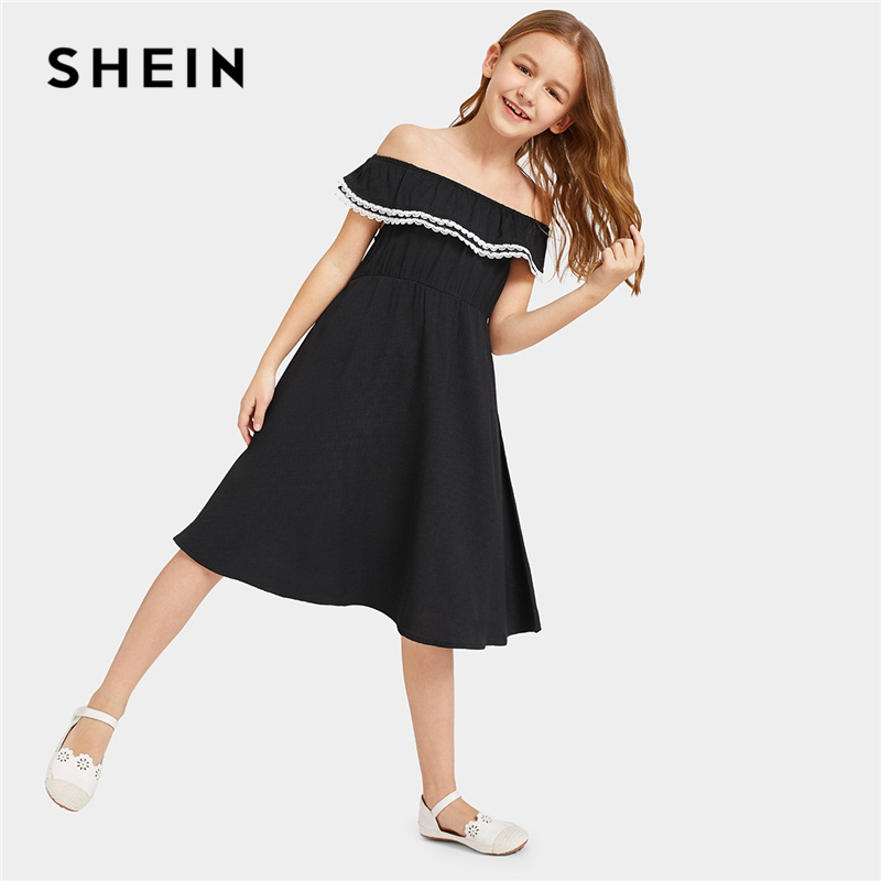 SHEIN Kiddie Black Lace Trim Ruffle Off The Shoulder Casual Girls Dress 2019 Summer Sleeveless Knee Length Cute Flared Dresses plus knot open back ruffle trim bodysuit