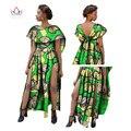 BRW Dashiki Африканских Воск Батик Печати Платья для Женщин Базен Riche Оборками Sexy Long Dress Плюс Размер Африканская Женская Одежда WY685