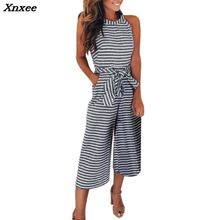 Women Sleeveless Striped Jumpsuit Casual Clubwear Wide Leg Pants Outfit girl Casual Linen Zipper Sleeveless Striped Jumpsuit palazzo leg striped cami jumpsuit