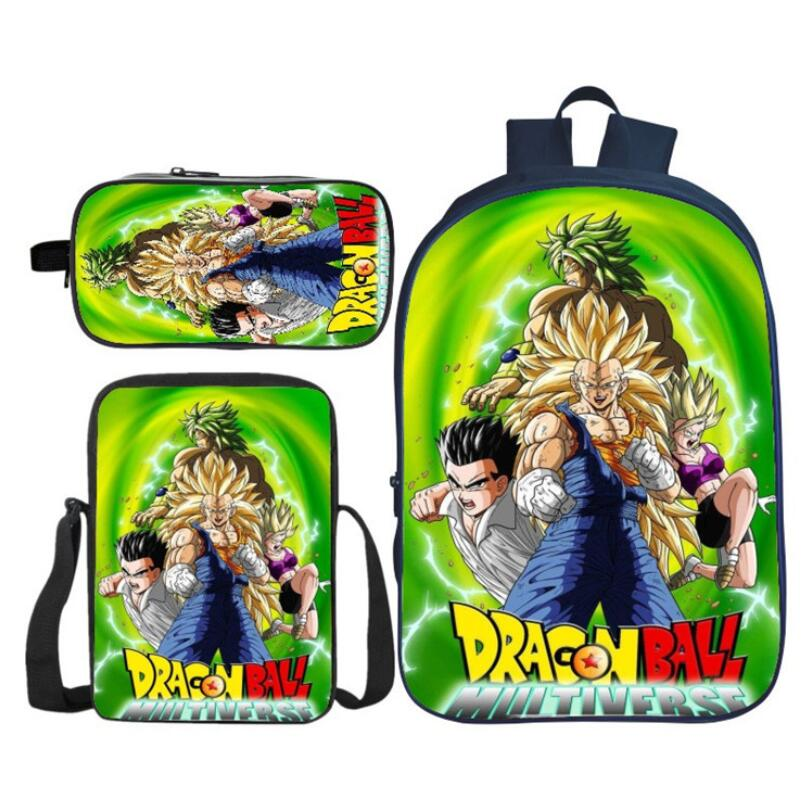3Pcs/Set Fashion 3D Printing Dragon Ball Super Kids Baby School Bags Saiyan Rucksack Children Shoulder Backpack Boys And Girls