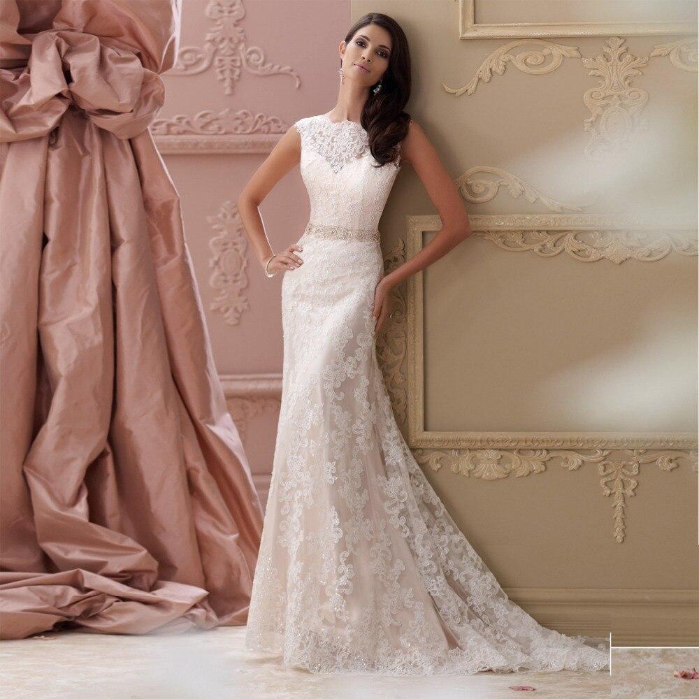 back interest wedding dresses lace backless wedding dress Fabulous Sheath Column V Neck Natural Sweep Brush Train Lace Ivory Champagne
