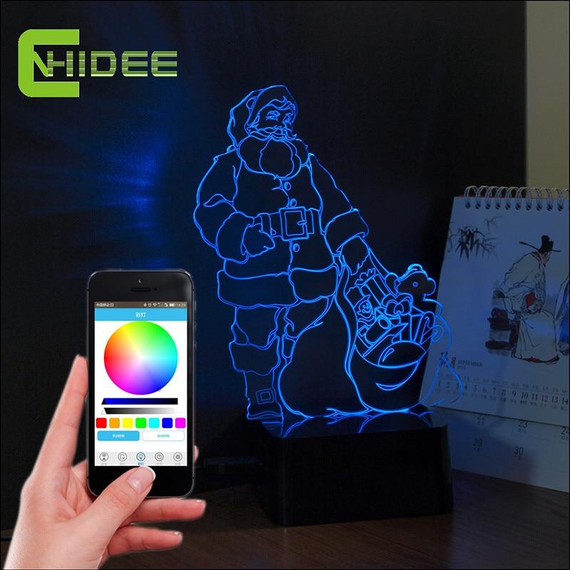 ФОТО 3D Music Lampara Christmas Decor Santa Claus Led Night Lights USB Bluetooth Speaker Table Lamp as Home Decor Party Nightlight