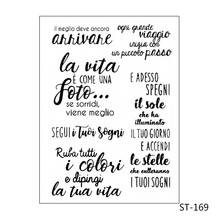 Italian/Language/Words Transparent silicone Stamp for DIY Scrapbooking/Photo Album Decorative Card Making Clear Stamps Supplies