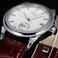 2016 sewor marca de diseño de moda de lujo hombre de negocios de cuero mecánico automático esquelético de los hombres reloj militar reloj de pulsera de regalo