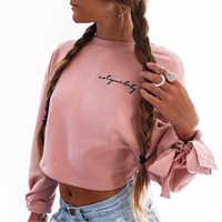 Mode Femmes Bowknot Longue sweat à capuche et manches longues Col Rond Récolte hauts Blanc Rose Court Sweats Tenues de Printemps