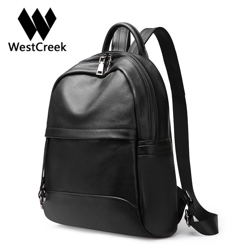 Westcreek Brand Genuine Leather Women Casual Traveling Backpack Cow Leather Female Daily Backpack Girls Black School Bag women backpack fashion pvc faux leather turtle backpack leather bag women traveling antitheft backpack black white free shipping