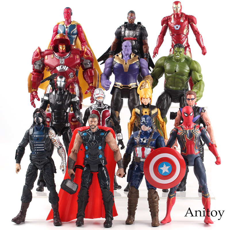 Avengers Infinity War Thor Captain America Spiderman Thanos Iron Man Vision Falcon PVC Marvel Avengers Toys for boys