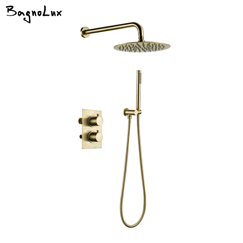 Bathroom Faucet 2 Dial 2 Way Gold Shower Set Diverter Thermostatic Control Mixing Valve Rainshwoer Sets 8/10/12  Inch