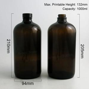 Image 2 - 2PCS x 1000ML 33OZ Big Dark Amber Borosilicate Glass Standard Boston Round Bottle with Black Phenolic Closure PE Cone Lined Cap