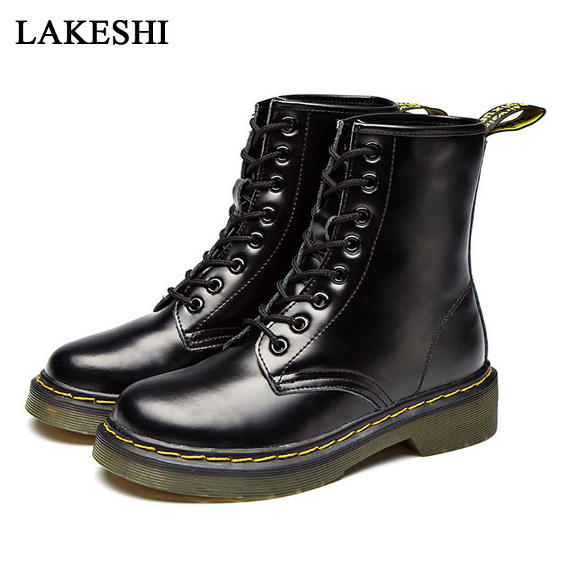 Lace Up Genuine Leather Ankle Boots Men Boots Motorcycle Boots Winter Shoes For Martin Boots Heel Plus Size Men Shoes Booties