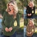 Женщины Повседневная С Длинным Рукавом Трикотаж Jumper Куртки Пальто Свитер Пуловер