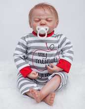 22 inch Collectible Baby Doll Lifelike Newborn Reborn Pacifier Doll in Gray Striped Baby Clothes