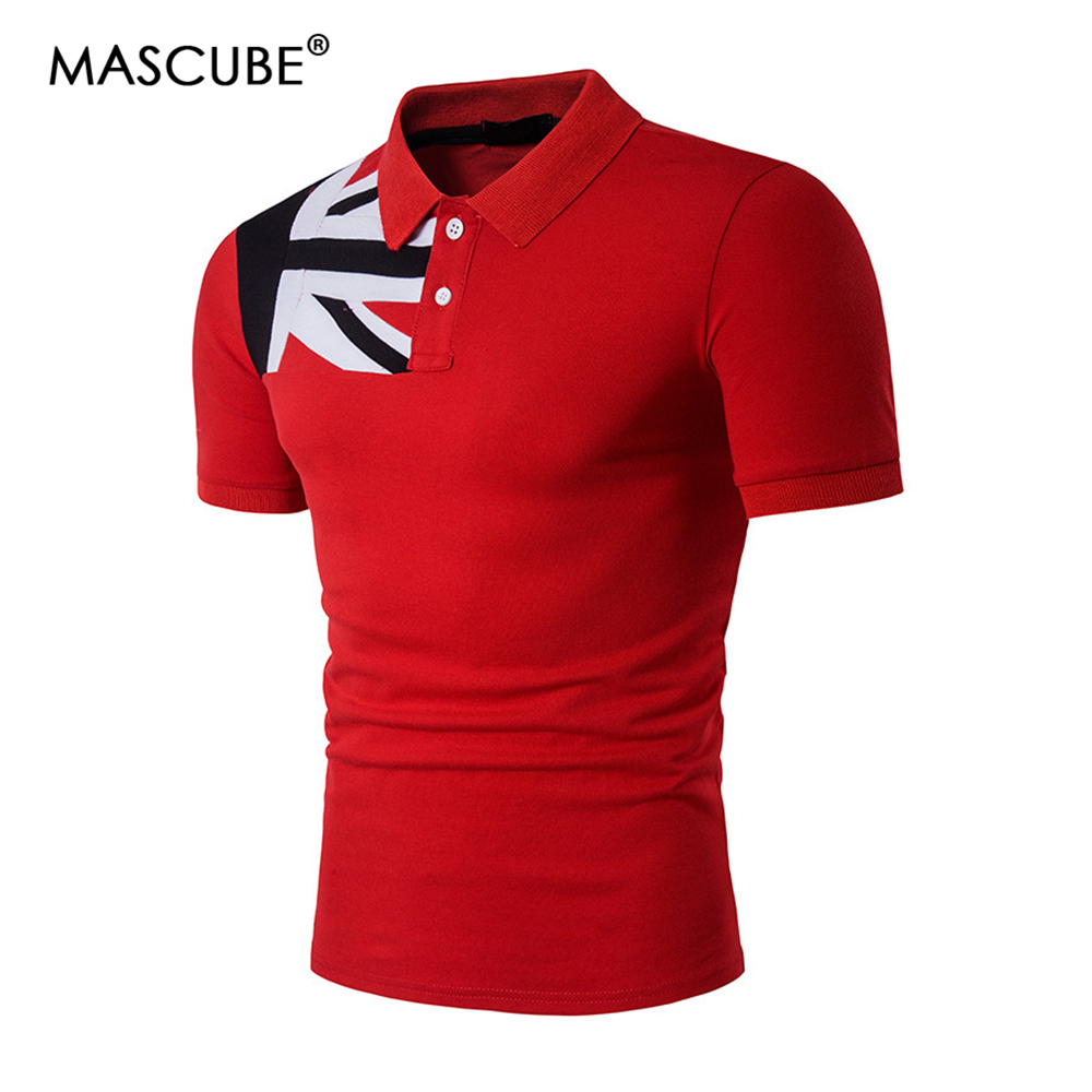 MASCUBE Drop Shipping Casual   Polo   Shirt Men Brand Cotton Men's Flag   Polo   Shirt NO.HZAW0173