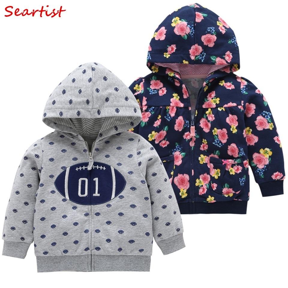 Seartist 2018 Girls Boys Hooded Sweatshirt Newborn Floral Zipper Hoodies Toddler Outfits Coat Jacket Baby Girl Boy Clothes 25C