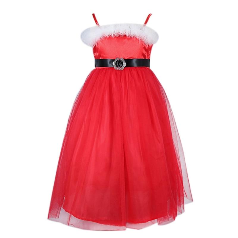 Vestito Da nuovo Anno Principessa Belle Neonate Lungo Rosso Di Natale abiti Cute Bambina Tulle Pizzo Vestiti Dei Bambini del Cotone di Natale Gowm