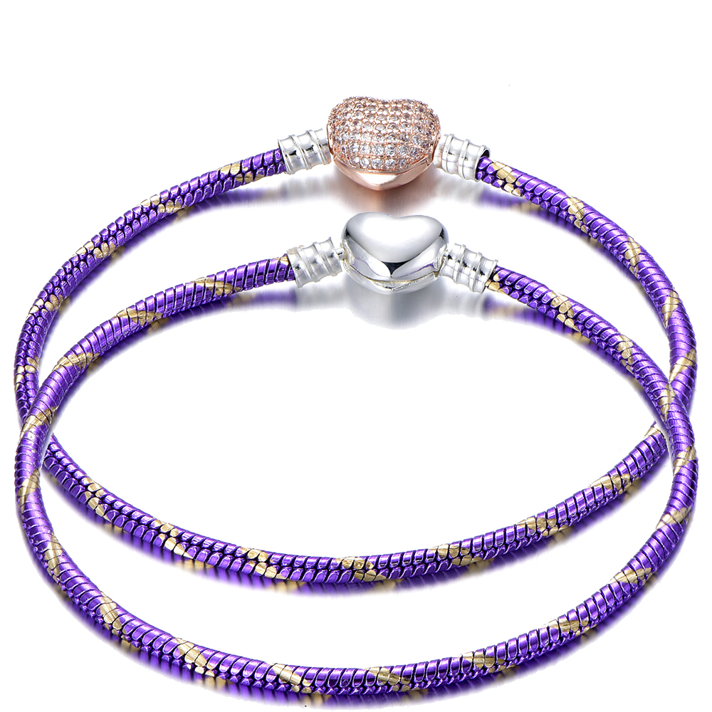 Forever Love Purple Gold Snake Chain Link Bracelets For Women Lovers Charm Brand Bracelets & Bangles DIY Making Jewelry Gift пандора браслет с шармами