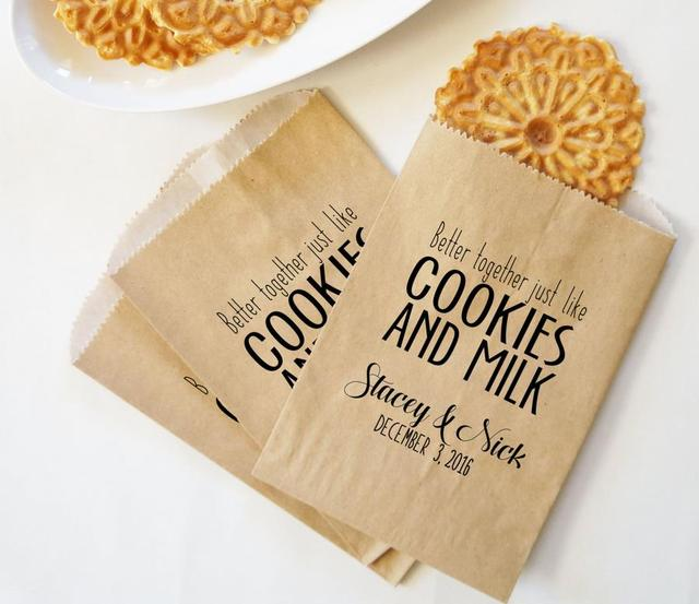 Personalized Wedding Cookie Bridal Baby Shower Kraft Paper Bakery Desserts Gifts Favors Bags Holder Pouches